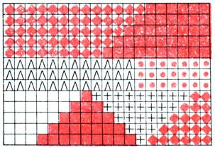 Рис. 67. Пример схемы вязания разноцветного полотна