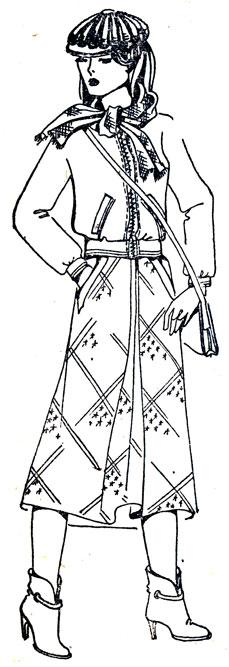158. Боковой шов переда модели прямого силуэта для фигур с узкими (пунктирная линия) и широкими (утолщенная линия) бедрами