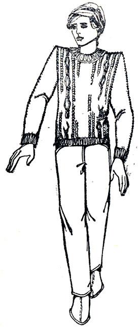248. Вывязывание капюшона: б - прибавление петель по наружному краю капюшона