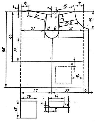 252. Форма горловины и выкройка воротника 'хомут' чулочного вязания